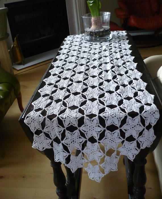 Free Crochet Patterns For Dresser Scarves : Hand Crochet white dresser scarf table runner in stars