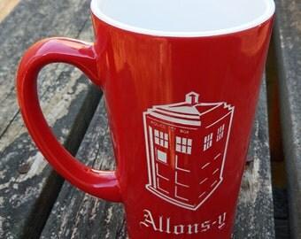 Large Red Personalized Doctor Who Tardis Mug, Dr. Who Mug, Dr. Who, Tardis, Custom Coffee Mug, Personalized Mug, Coffee Mug, Mug (CS036)