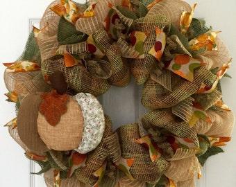 Quilted Pumpkin Autumn Wreath Handmade Deco Mesh