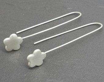 Sterling and fine silver long drop flower earrings