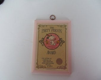 Peanuts Snoopy Wall Plaque - The Party Person  Award - Good Vintage - Wall - Home Decor