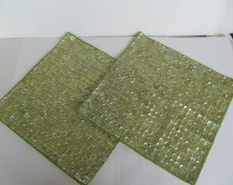 Place Mats - Beaded -Mother of Pearl - set of 2