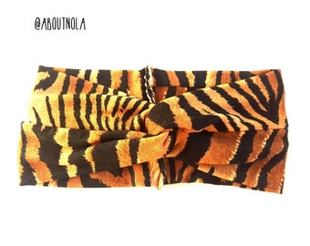 Animal print twisted turban- baby turban-black headwrap-adult turban-girls headwrap
