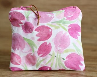 Mini Cosmetic Case, Watercolor Cosmetic Case, Makeup Pouch, Toiletries Case, Zip Pouch. Pink Tulip Cosmetic