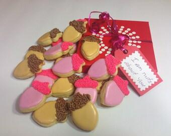 Valentine's Acorn Sugar Cookies (30 Mini Cookies)