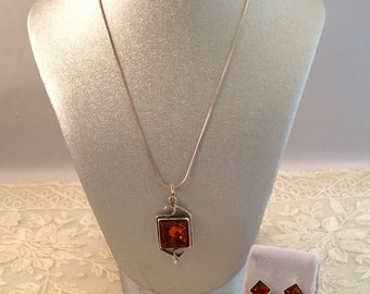 Amber and Sterling Silver Necklace and Pierced Earring Demi Set