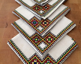 Embroidered Linen Napkins, Set of 5