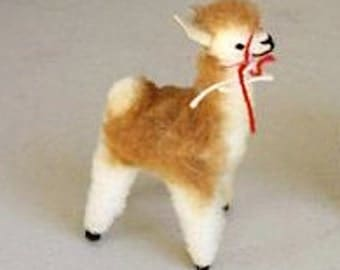 Standing and Sitting Fawn Alpaca Toy (Sheeps wool) - Handmade, Add a String to use as Ornament or Stocking Stuffer, Christmas or Hanukkah!