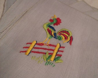 Embroidered Linen Napkins, Set of 7, Roosters
