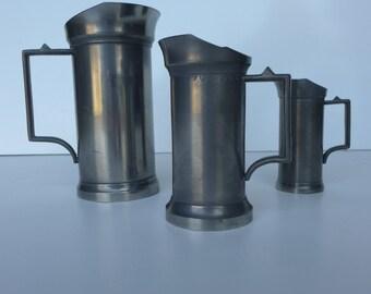 Set of 3 Antique French Pewter Measuring Cups ( 1 Deciliter, 2 Deciliter, 1/2 Liter )