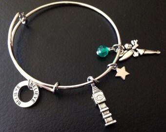 Customizable Tinker Bell Bracelet, Tinker Bell Bangle Bracelet, Tinker Bell Bangle, Tinker Bell Charm Bracelet, Peter Pan Charm Bracelet