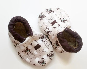 Puppy baby shoes,pug baby shoes,brown baby booties, dog baby shoes,brown puppy,brown baby shoes, puppy soft sole shoes, pup baby moccs