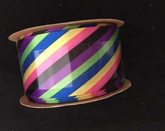 Rainbow Stripe Wired Ribbon By the Yard