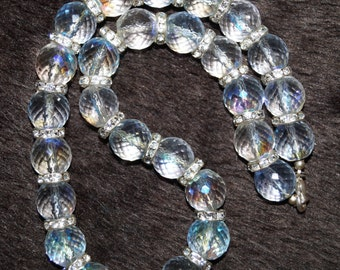 Heavy 80's Glass Necklace Aurora Boralis