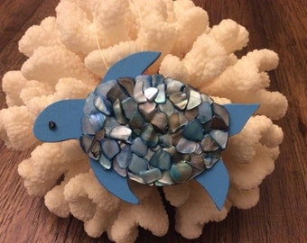 wooden sea turtle ornament with abalone shell