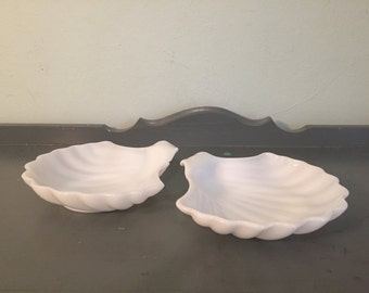 Two Clam Shell White Milk Glass Bowls