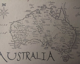 Australia map, hand-drawn