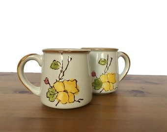 Casualstone mugs vintage stoneware coffee cups yellow flower design