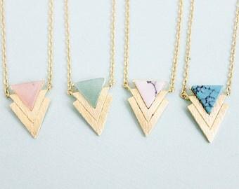 Chevron necklace Gold Framed Opal Stone Chevron Triangle Pendant Necklace Bridesmaid Gift Bridesmaid Necklace Simple and Modern Necklace