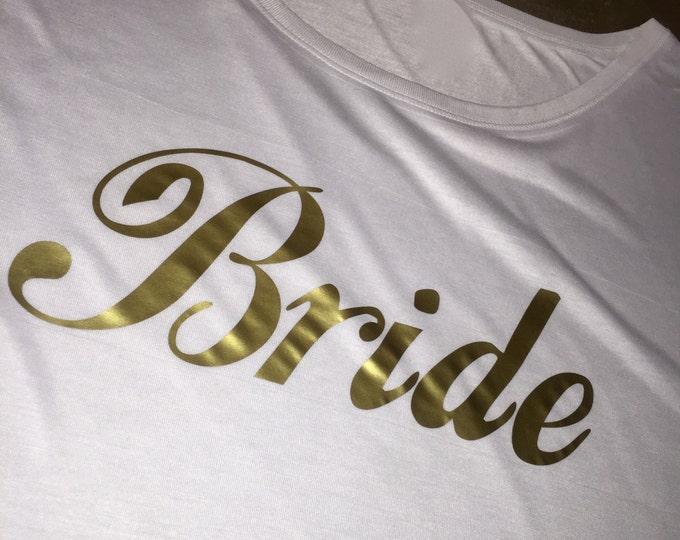 Bride Shirt . Gold Writing Bride Short Sleeve dolman sleeves shirt . Ti-Blend Short Sleeve Wide neck Bride to be t Shirt . Shower Gift