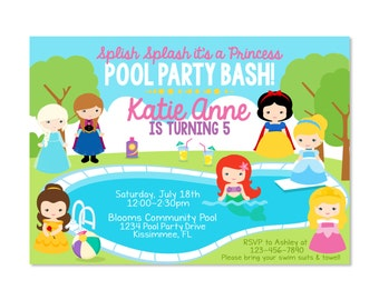 Princess Pool Party Birthday Invitation