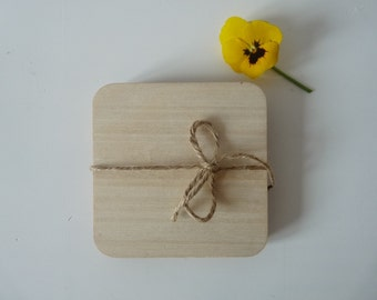 Set of 10 laser cut wooden coasters plywood square coasters for decoupage unfinished unpainted plain wooden coasters