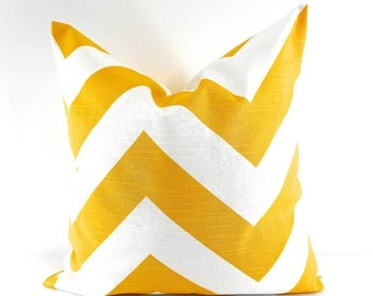 On Sale YELLOW PILLOW cover. Zippy cushion cover. Chevron. Corn yellow and white Pillow Cover Sham Pillow case.Select your size.