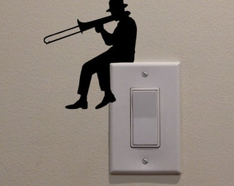 "Man Playing Trombone On Light Switch (4.75""x4"") - Bedroom/Home Decor Decal"
