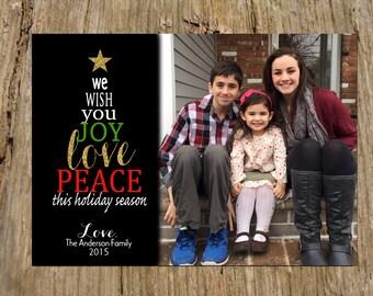 Christmas Holiday Photo Greeting Card, Gold Sparkle Tree Peace Love Joy Design
