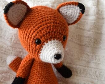 Fox Plush // Amigurumi Crochet Stuffed Animal // Woodland Nursery Toy // Friendly Fox