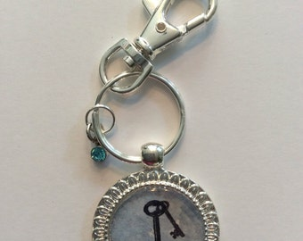 Keychain. Skeleton Keys Keychain. Watercolor and Stamp