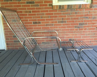 Vintage Milo Baughman Style Chrome Lounge Chair and Ottoman Mid Century Decor