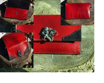 Purses/wallets at the Canada hand, stitched, unisex red calf leather