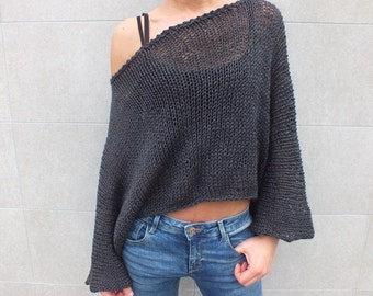 Off the shoulder sweater, Charcoal gray sweater, Cropped sweater, Boho Chic