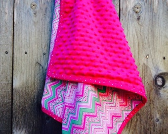 Pink chevron baby blanket - modern baby blanket - baby shower gift - minky baby blanket