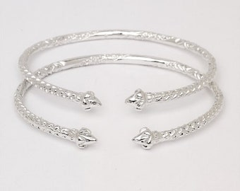 Pointy Ends .925 Sterling Silver West Indian Bangles