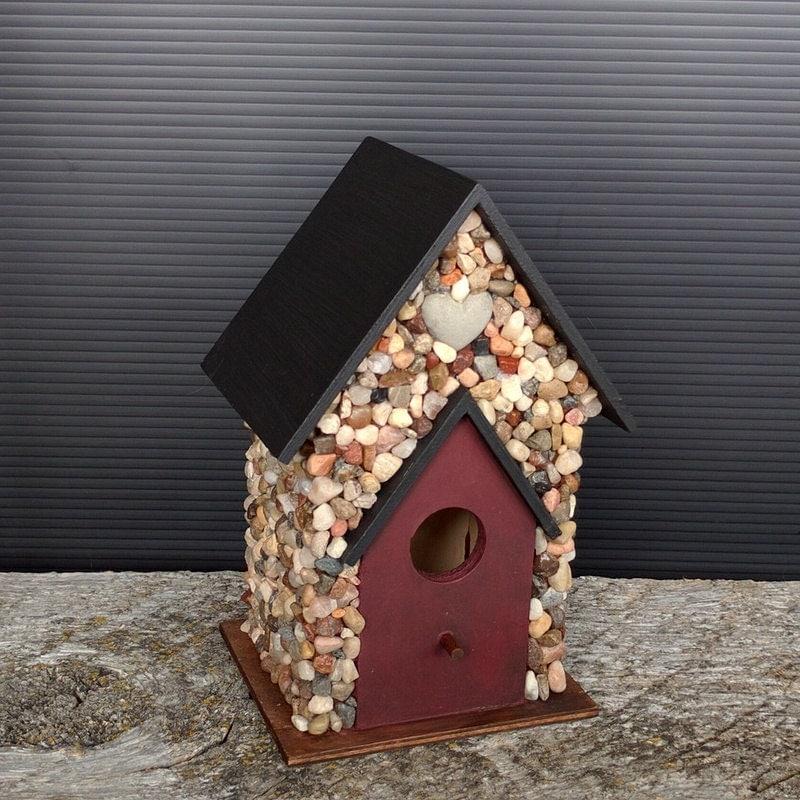 stone birdhouse indoor decor river rock. Black Bedroom Furniture Sets. Home Design Ideas