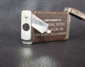 Vintage Cigarillo Cutter and Match Holder with Strike Plate From The KeyStone Hotel