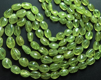 14'' Strand, Super Finest, TOP RARE GREEN Grossular Garnet Smooth Oval Nuggets, Size 12-6mm