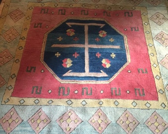 Nomadic oriental rug handcrafted pure wool 2000s