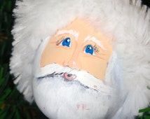 Hand painted and crafted gourd Santa ornament by Debbie Easley