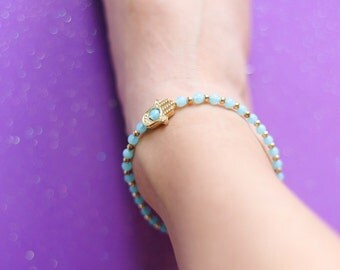 Turquoise Gold Glass Beaded Hamsa Hand Anklet, Handmade anklet, Boho Jewelry, Beach Accessories