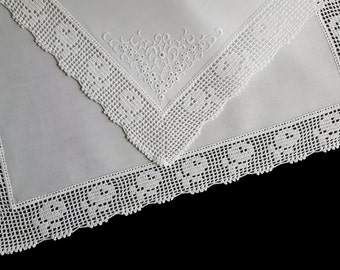 White cotton handkerchief with rich filet crochet border