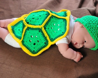 Newborn Baby Turtle Shell and Cap - Photo Shoot Photography Prop