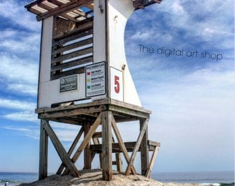 Digital download lifeguard station coastal beach photography wall art home decor
