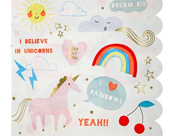 "SALE, Rainbow & Unicorn Large Napkins-Meri Meri-Birthday, Party and more ""Same Day Shipping"""