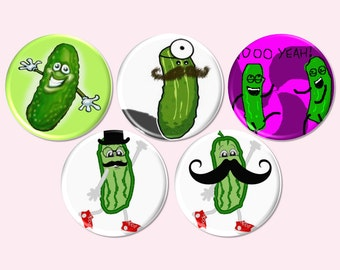 Pickle Party Buttons, Pickle PinBacks, Pickle Man Buttons, Pickle Party Favors, Dill Pickle Themed Event, Food Craving Party Pins - BB2601