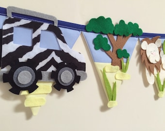 Safari animal nursery bunting