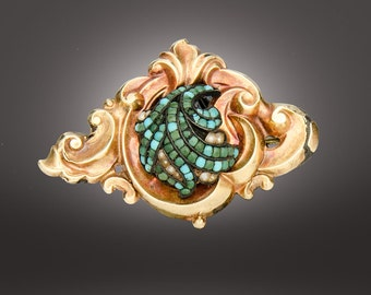 Victorian 14k and turquoise & pearl Rococo brooch circa 1850
