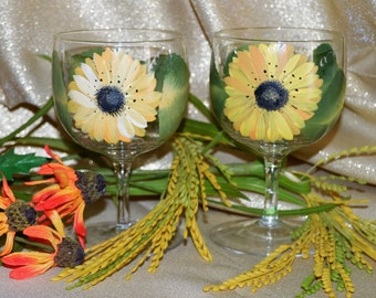 Hand Painted Sunflowers on two Royal Doulton wine glasses